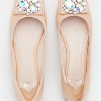 Faith Arctic Nude Embellished Ballet Flat Shoes at asos.com