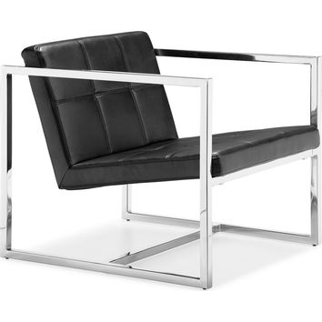 Carbon Chair Black Leatherette & Chrome