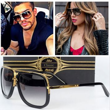 Coodaysuft Oversized Men Sunglasses Women  Brand Designer Flat Top Mirror Sun Glasses Square Gold Male mach Female Eyewear one