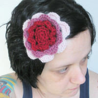Irish Rose Fascinator Hair Barrette Clip in Rose Trio Crochet, ready to ship.