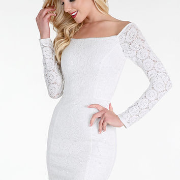 Snow White Sequined Lace Off Shoulder Dress