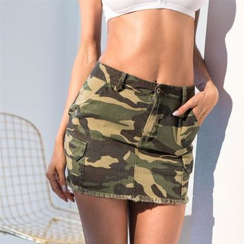 Summer Female Camo Denim Skirt High Waist Bodycon Pencil Skirt Sexy Women Camouflage Jean Harajuku Skirt