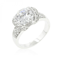 Tension Set Cubic Zirconia Engagement Ring