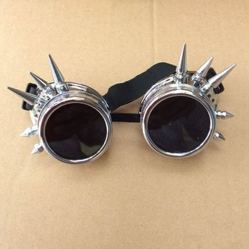Fashion Silver Steampunk Goggles Spikey Burning Man Costume Cosplay Gothic Punk  Safety Goggles