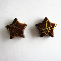 Brown Gold Drizzle Star Earrings -Plastic Posts-
