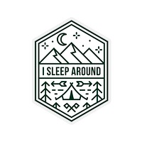 I Sleep Around Funny Camping Sticker, Funny Camping Gift, Camping Stickers