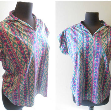 Tribal Print Shirt Blouse Geometric Shirt Blouse Cap Sleeve Short Sleeve Size Large