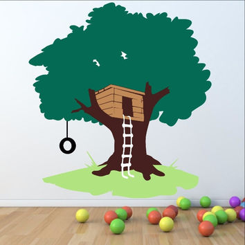 Tree House with Tire Swing Large Nursery Playroom  Mural 22258