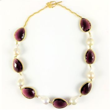 Hydra Baroque Pearl and Stone Necklace Gold Raspberry Jam