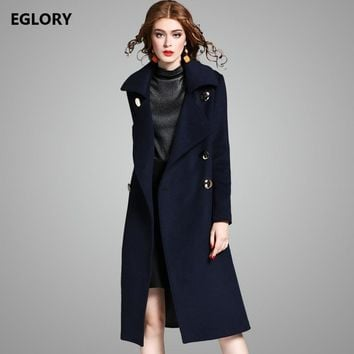 2017 Winter Long Coats 100%Wool Women Turn-down Collar Double Breasted Long Sleeve Thick Warm Wool Coat Jacket Outerwear Female