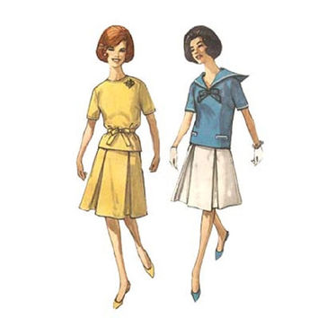 1960s Nautical 2 Piece Simplicity 4276 Bust 31.5 Two Piece Skirt and Top with Sailor Collar Vintage Sewing Pattern