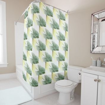 Stylish Palm Tree Faded Leaves Shower Curtain