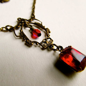 Art Nouveau Necklace Set Ruby Red Necklace Brass Necklace Vintage Crystal Necklace Set -Royalty