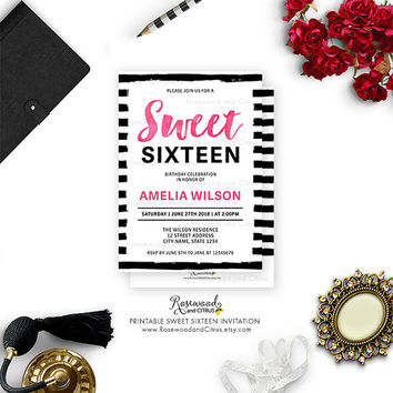Printable Sweet 16 Invitation, Printable Sweet Sixteen Invite, Printable Birthday, Sweet 16 Birthday, Watercolor Sweet Sixteen Birthday