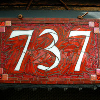 Mosaic House Number on Slate  3 digit
