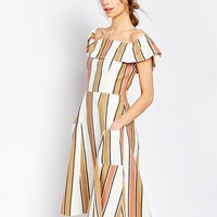 ASOS | ASOS Off Shoulder Stripe Sundress in Natural Fibre at ASOS