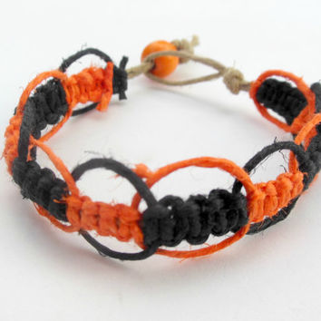 15% off CIJ SALE Halloween Hemp Bracelet Black Orange For Men For Women
