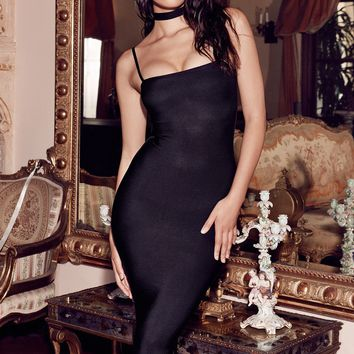 Elias Black Bandage Midi Dress with Choker