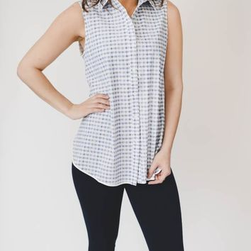 Gingham Sleeveless Button Up - Blue
