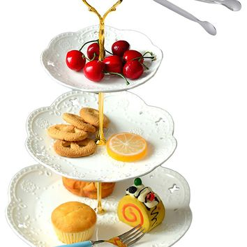 Jusalpha 3-tier White Ceramic Cake Stand-cupcake Stand- Dessert Stand-tea Party Serving Platter (3RW Gold)-