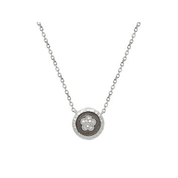 "Daisy Flower Disk Pendant Necklace, 15.5"" +1.5"""