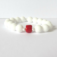 White Jade and Red Coral Beaded Bracelet - Casual Everyday Gemstone Bracelet in White