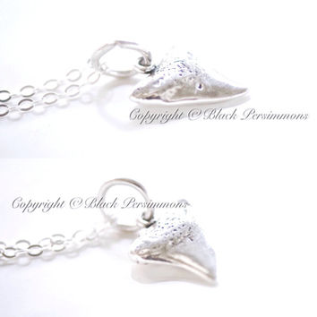 NEW - Shark Tooth Necklace - 3D Sterling Silver Charm - Free Domestic Shipping