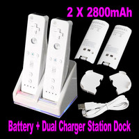 Discounts Double Dual Remote Charger Dock Sation 2 Battery For Nintendo Wii Remote L3EF