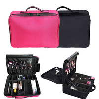 2016 Professional Large Cosmetic Case Cosmetic Case Makeup Artist Dedicated storage Rose Red GUB#