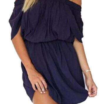 Dark Blue Off Shoulder High Waist Dress