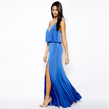 Blue Velvet Strappy back Maxi Dress With Slit
