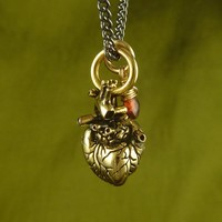 Small Gold Anatomical Heart and Garnet Necklace by Lost Apostle