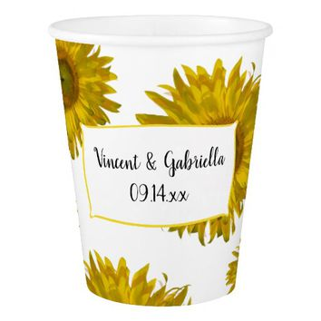 Yellow Sunflowers Wedding Paper Cup