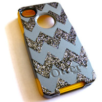 otterbox iphone 4 case, Iphone 4 case, Glitter case, cute iphone 4 case, custom otterbox iphone 4, gift,black  iphone 4 case
