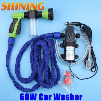 12V Car Washing Machine Cleaning Pump High Pressure Water Pump Water Gun Washing Equipment Portable Car Washer Set