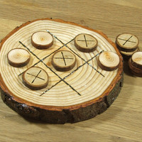 Natural Rustic Wooden Tic Tac Toe or Noughts and Crosses Game.