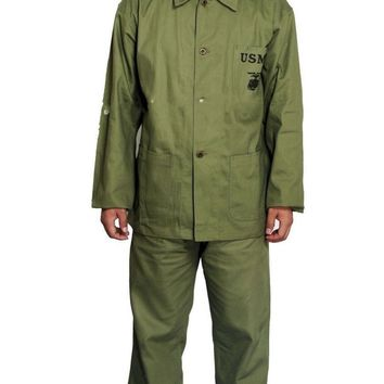 WWII WW2 US MARINE CORPS P44 USMC PLAIN GREEN HBT FIELD MILITARY UNIFORM IN SIZES