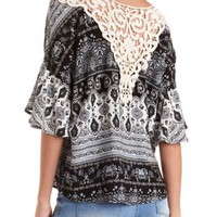 Oversized Paisley & Crochet Top by Charlotte Russe