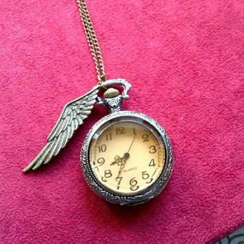 Steampunk Pocket Watch necklace brown crystal face