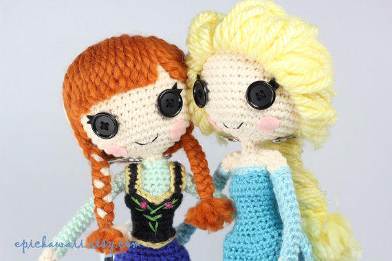 Amigurumi Lalaloopsy Free Pattern : Pattern pack elsa and anna from frozen from epickawaii on etsy