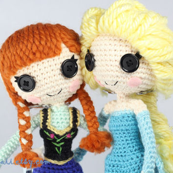PATTERN 2-PACK: Elsa and Anna from Frozen Crochet Amigurumi Dolls