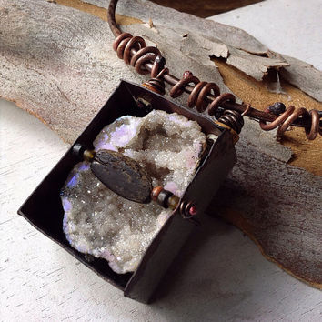 Raw stone necklace: Aura quartz druzy necklace, hammered copper choker,  rustic necklace, quartz crystal necklace, druzy necklace
