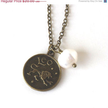 VALENTINES DAY SALE Leo astrology zodiac star sign charm and white pearl antique bronze necklace