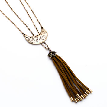 Half moon tassel long necklace