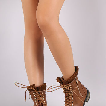 Sweater Cuff Zipper Trim Military Lace Up Ankle Boots