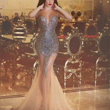 Sexy New Mermaid Evening Dress 2016 Sheer O-neck Sleeveless Floor Length Beading Tulle Prom Dresses Robe de soiree