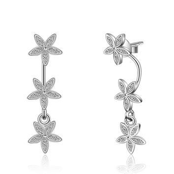 Super Stars Suspension Stud Earrings Real 925 Sterling Silver With Austrian Crystal CZ Diamond Ear Accessories Jewelry