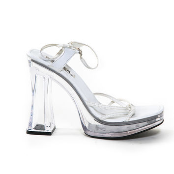 Vintage Soda Lucite Heel with White Straps