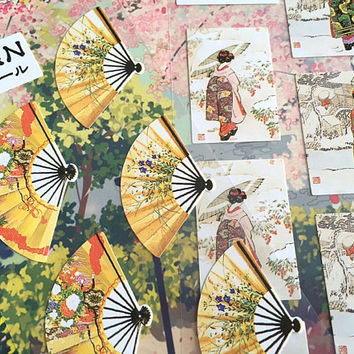 2 geisha Japanese paper fan stickers Japan theme Kimono Japanese art fan deco sticker Japanese scenery culture decor sticker set gift