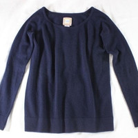 "~~~ BLANKET-SOFT! ~~~ HAPPY BY DAWN BAKER NAVY ""CASHMERE"" KNIT SWEATER ~~~ 0/S"